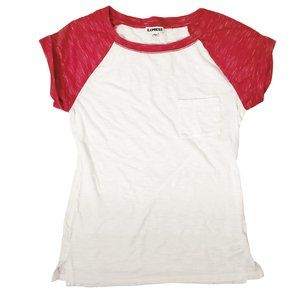 Express Women's Space Dyed Baseball Tee Red White